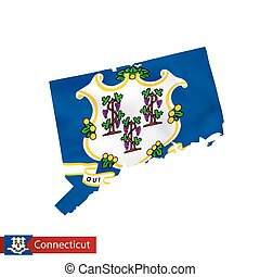 Connecticut state map with waving flag of US State.