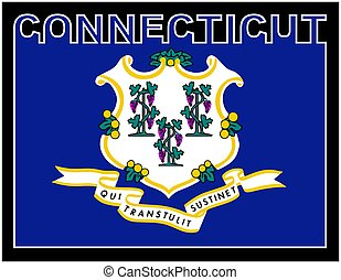 Connecticut State Text Flag - Connecticut state text in ...