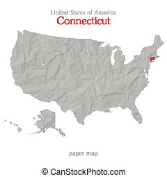 connecticut - United States of America map and Connecticut ...