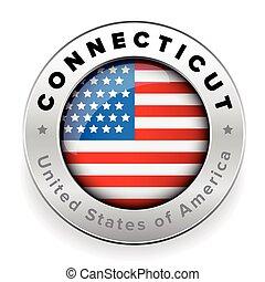 Connecticut Usa flag badge button vector