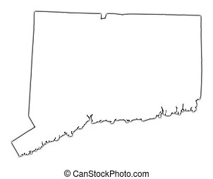 Connecticut(USA) outline map with shadow. Detailed, Mercator projection.