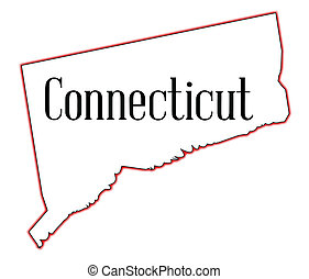 Connecticut - State map outline of Connecticut over a white...