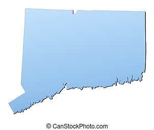Connecticut(USA) map filled with light blue gradient. High resolution. Mercator projection.