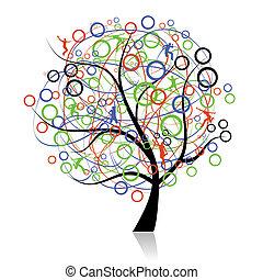 connecting, őt emberek, fa, háló
