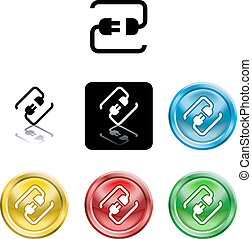 Several versions of an icon symbol of a stylised plug connecting