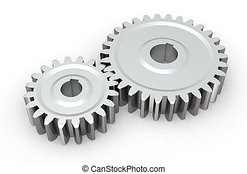 Connecting gears - 3d render of connecting metallic gears on...