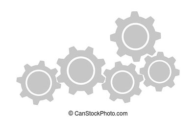 Connecting Gears - Connecting rotation Gears on white