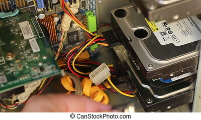 Connecting Hard Disk Drive - Plugging the Serial ATA...