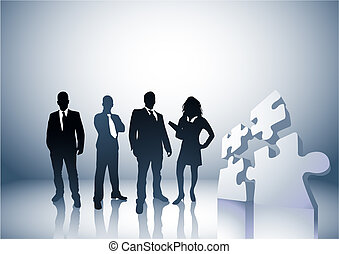 Team of people with a puzzle pieces. Illustration.