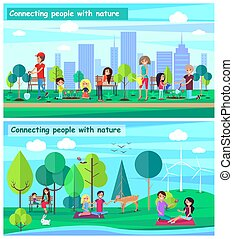 Connecting People with Nature Set Posters Vector
