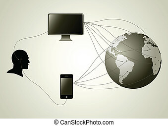 Connecting - Silhouette of human head figure having wire ...