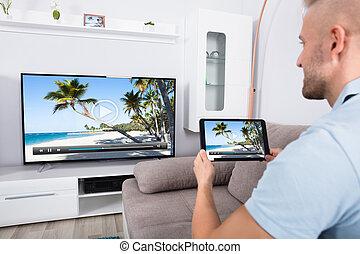 connecting, televízió, wi-fi, át, csatorna