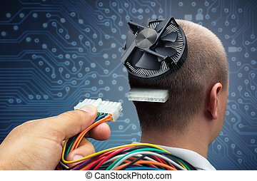 Connecting to cyborg - Hand plugging power cables into the...