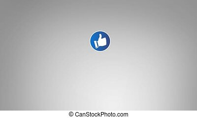 Hand touching Like button, connecting to social network