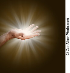 Connecting to the Divine Source - A male hand with palm open...