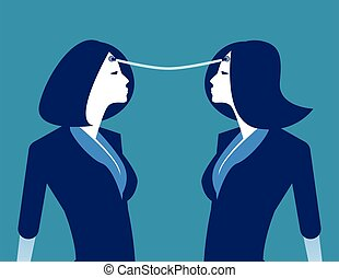 Connection. Business person exchange of ideas. Concept business vector illustration.
