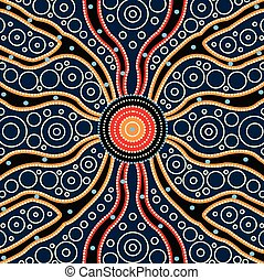 Connection concept, Aboriginal art vector painting, Illustration based on aboriginal style of dot background - Vector