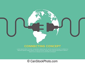 Connection concept flat design vector illustration