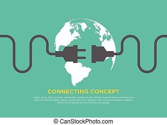 Connection concept flat design vector illustration