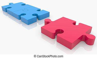 Connection concept of puzzle pieces