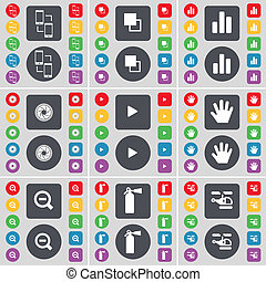 Connection, Copy, Diagram, Lens, Media play, Hand, Magnifying glass, Fire extinguisher, Helicopter icon symbol. A large set of flat, colored buttons for your design.