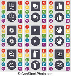 Connection, Copy, Diagram, Lens, Media play, Hand, Magnifying glass, Fire extinguisher, Helicopter icon symbol. A large set of flat, colored buttons for your design. Vector