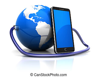 Connection - Global communication concept: cellphone...