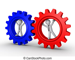 Connection of two different cog teams - Two 3d businessmen...