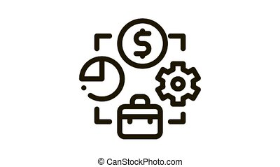 connection of work time and money Icon Animation. black connection of work time and money animated icon on white background