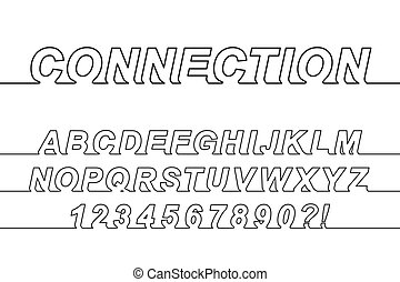 Connection One Line Font, latin alphabet letters and arabic...