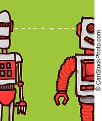 Connection or communication between two funny robots syncing