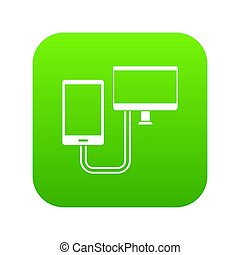 Connection phone icon digital green