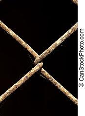 connection rusty metal grate. macro