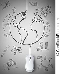 Connection with the world - Concept of mouse connected with...