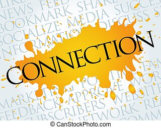 Connection word cloud collage, business concept background