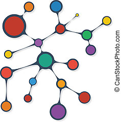 Connections between different circles. Vector illustration