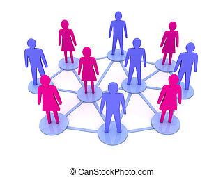 connections., gens, réseau, social