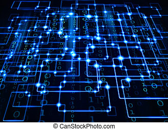 connections - electrical synapse and binary code