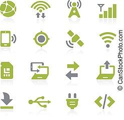 connectivité, icônes, ., natura