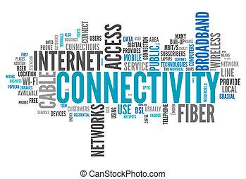 connectivité, mot, nuage