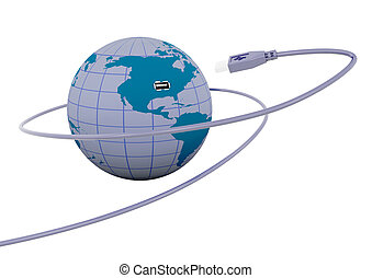 Connectivity - 3D render of a USB cable connecting to a...