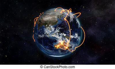 connectivity, afbeelding, over, geïllustreerd, wereldwijd