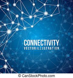 connectivity design over blue background vector illustration...
