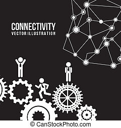 connectivity design over black background vector...