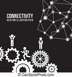 connectivity design over black background vector illustration