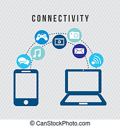 connectivity icons over gray background vector illustration
