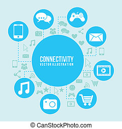 Connectivity icon over blue and icon background vector...