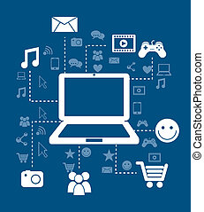 connectivity icons over blue background vector illustration