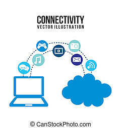 connectivity icons over white background vector illustration...