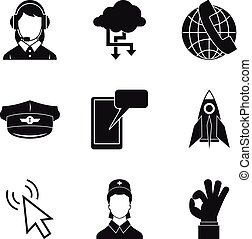 Connectivity icons set, simple style